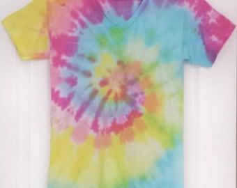 V-Neck Tie-Dye Swirl T-Shirt #22 (1 Available, UNISEX SMALL)