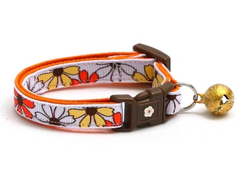 Floral Cat Collar - Yellow Orange & White Daisies - Small Cat / Kitten Size or Large Size