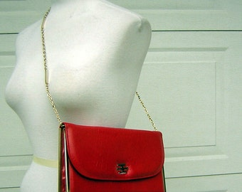 Red Leather Clutch Purse Hideaway Chain Handle & Brass Trim - Very Sharp - Clearance