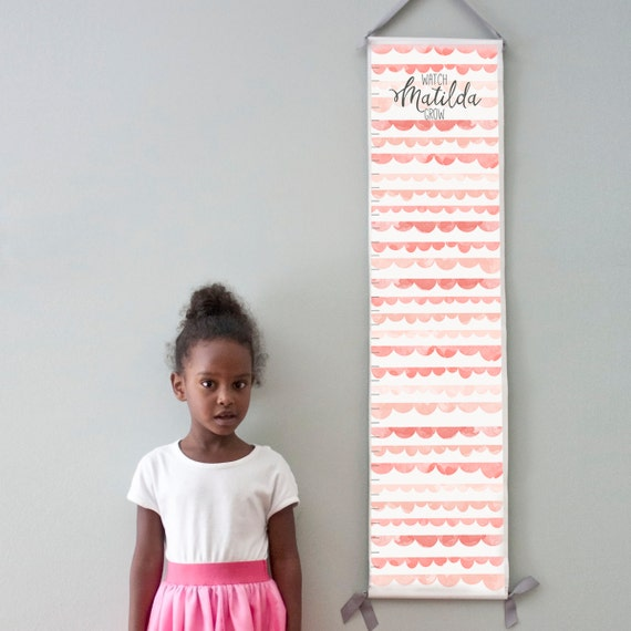 Custom/ Personalized Watch Me Grow canvas growth chart with pink watercolor scallops