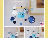 Baby Crib Mobile, Nursery Decor, Under the Sea Mobile, Fish Mobile, Polka Dot Mobile, Under the Sea Nursery, Blue White Ocean