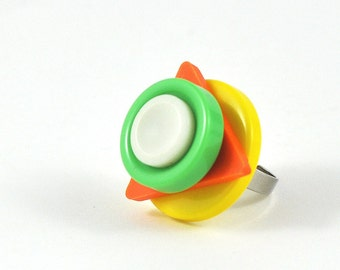 Geometric Upcycled Ring Vintage Buttons Orange Yellow Lime Green and white Colourful Jewellery 80s Nostalgia in Felt Jewelry Pouch