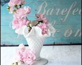 Vintage Fenton Milk Glass Hobnail Vase / Sweet Little Me