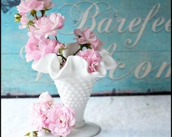 Vintage Fenton Milk Glass Hobnail Vase / Sweet Little Me