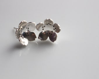 Cherry Blossom Earrings / Sterling Silver Cherry Blossom Flower Earring Studs / Sterling Stud Earrings / Flower Post Earrings in Sterling
