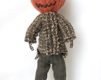 Pumpkin Head Felted Art Doll