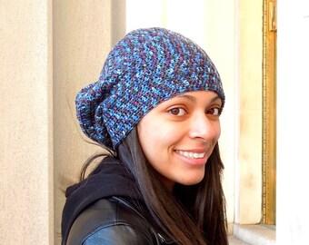 Crochet Slouchy Hat, Women, Men, Teen, Blue, Multicolor, Tam, Merino Yarn