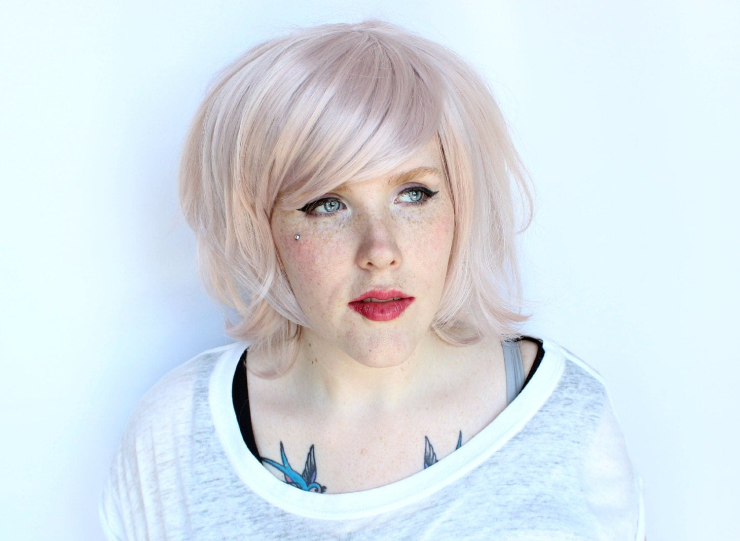 SALE pastel wig. straight pink wig. pink scene by MissVioletLace