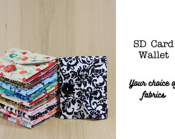 Memory Card Wallet, SD Holder - Choose Custom Fabrics - Made to Order