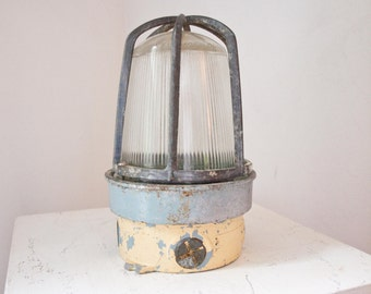 Antique Nautical Ship Light / Caged Lamp / Rustic Decor
