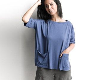Women blouse, Royal blue, oversized t shirt , pocket shirt, 3/4 sleeves, summer top, loose t shirt, crew neck shirt, blue top, t shirt, wide