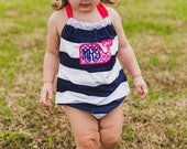 Navy White Hot Pink Whale Monogram Bubble Romper Sun Suit Summer Sunsuit 0-3 3-6 6-12 12-18 18-24 Months 2T 3T 4T