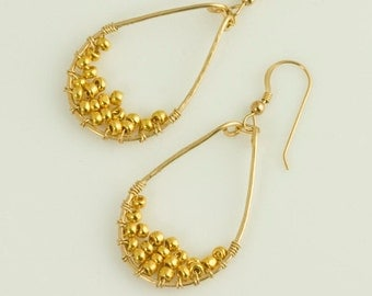 Hoop Earring Gold Beaded Wire Wrapped Tear Shaped
