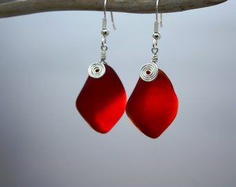 Red Sea Glass Earrings Seaglass Earrings Sea Glass Jewelry Red Earrings Beach Glass Earrings Beach Jewelry Seaglass Jewelry Ocean Jewelry 79