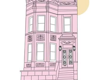 Pink Brownstone Townhouse Print