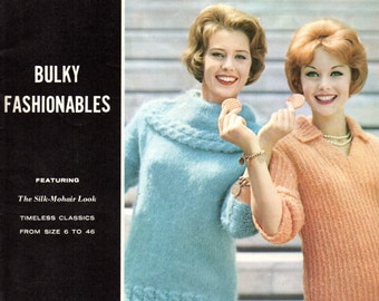"""SPINNERIN Volume 154 Knitting Pattern Book 1960s """"Bulky Fashionables"""" Featuring The Silk - Mohair Look"""