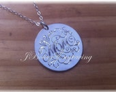 Mom Mothers Day Necklace Hand Engraved Sterling Silver Mom Pendant with Sterling Silver Chain