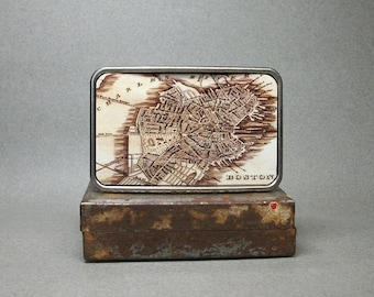 Boston Massachusetts Vintage Map Belt Buckle Unique Gift for Men or Women