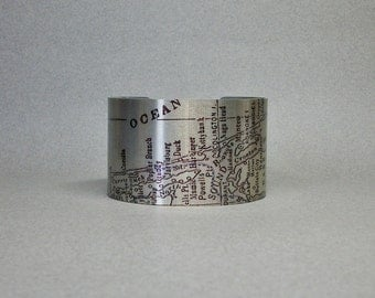 Outer Banks North Carolina Vintage Map Cuff Bracelet Unique Gift for Women or Men
