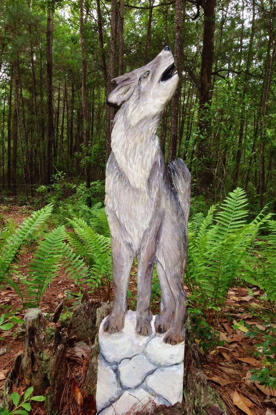 "Timber Wolf 48"" chainsaw canine wall mount rustic wood wolf carving log cabin rustic wildlife indoor outdoor home decor wooden wall art"