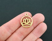 8 Lotus Charms Antique Gold Tone 2 Sided Open Design- GC074