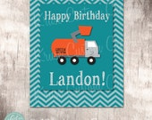 Garbage Truck Party Customized Welcome Sign by Beth Kruse Custom Creations