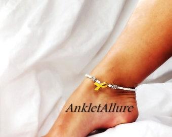 Gold Ribbon Jewelry Gold Ribbon Anklet Childhood Cancer Awareness Ankle Bracelet Crystal White Ankle Bracelet