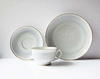 Upsala Ekeby Karlskrona Tea Set - Swedish Modern Cup Saucer And Plate - Vintage Scandinavian Porcelain - Sweden KP Fine China Dove Gray