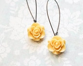 Yellow Rose Earrings Bridesmaids Jewelry Long Dangle Earrings Romantic Country Chic Yellow Wedding Flower Earrings Bridal Acessories