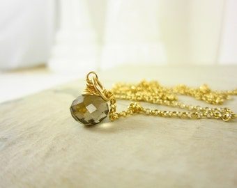 14k Gold Pendant - 14k Gold Charms - Smoky Quartz Pendant - Natural Quartz Charms - Necklace Charms - Wire Wrapped Jewelry Handmade Jewelry