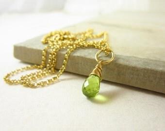 14k Gold Charms - Bright Green Peridot Birthstone Jewelry - Genuine Peridot Jewelry Handmade - Wire Wrapped Gemstone Pendant - JustDangles