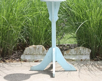 Vintage Wood Wooden Plant Stand Pedestal Side Table Aqua Blue Painted Rustic Distressed Beach Farmhouse Cottage Chic French Country