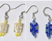 Flower power drop earrings, pink or green,  FREE shipping