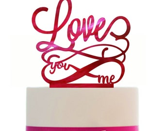 Custom Wedding LOVES Cake Topper with infinity sign, choice of color, Removable spikes and a FREE base for table display