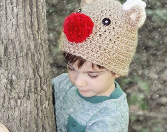 Reindeer Hat, Christmas Hat, Child Reindeer Hat, Baby Reindeer Hat, Newborn Rudolf Hat, Newborn Christmas Hat, Baby Crochet Hat  PHOTO PROP
