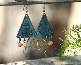 Handmade beaded earrings, blue earrings,