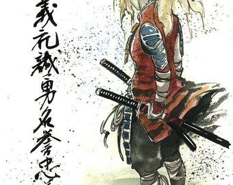 8x10 PRINT of female blond samurai Sumi ink and watercolor with 7 Virtues of Samurai
