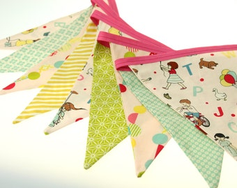 October Afternoon Shabby Chic-   Pennant Bunting Banner - great for birthday party decor, nursery, playroom, photo prop