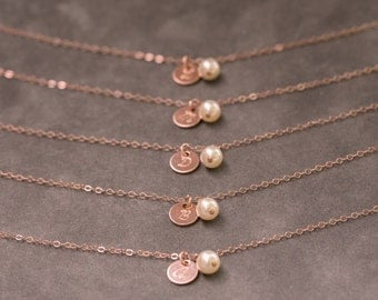 Custom Initial Bracelet in Rose Gold, Bridesmaid Jewelry Set of 3, Wedding Party Gift, Rose Gold Charm Bracelet