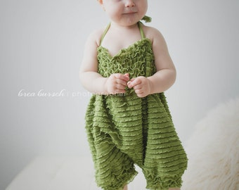 Long Moss Green Ruffle Romper, Baby Girl Romper,Newborn Romper,Ruffle Romper ...Great for Bithday parties or a walk in the park