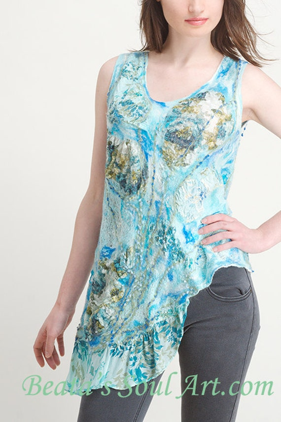 SALE Tunic, Blue  blouse  OOAK cotton, silk and wool Art to Wear, Blue Summer tunic, Blue tunic, Blue tunic, unique handmade tunic