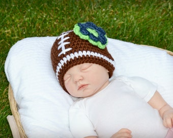 Crochet Baby Girl Football Flower Beanie - Newborn to Adult - Chocolate/White/Dark Country Blue/Limelight - MADE TO ORDER