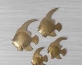 vintage nesting mid century wall hanging solid brass fish figurine / set / beach / ocean decor