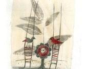 Love -Two Birds -original drawing valentine small