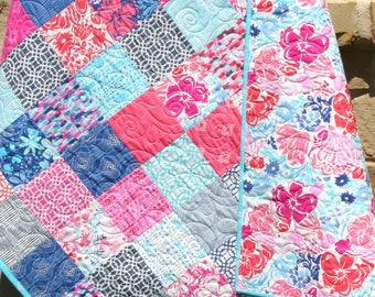 Paradiso Baby Quilt, Patchwork Pink Blue Purple Coral, Girly Girl Blanket, Nursery Decor, Crib Bedding, Flowers Handmade Shower Gift, Modern