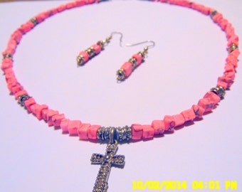 Pink Turquoise Necklace and Earrings with Silver Cross