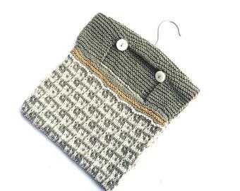 Hand knit Peg Bag , half price , clearance sale