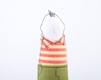 Little  boy doll suitable for family portrait , Soft sculpture boy in Yellow red striped shirt & olive green pants  -Timohandmade Miniature