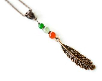 Quartz Feather Necklace, Copper Necklace, Antique Copper Necklace, Long Boho Necklace, Multi Colored Necklace, Gemstone Necklace