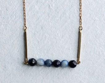 Navy Blue Gemstone Necklace ... Industrial Modern Geometric